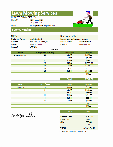 Lawn Mowing Schedule Template Awesome Ms Excel Printable Lawn Mowing Receipt Template