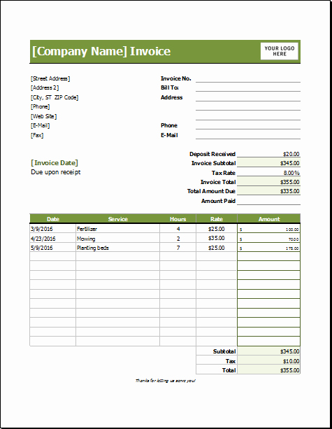 Lawn Service Proposal Template Free Beautiful Lawn Care Invoice Template for Excel