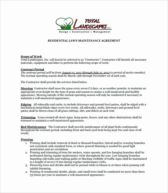 Lawn Service Proposal Template Free Elegant Maintenance Proposal Template – Syncla