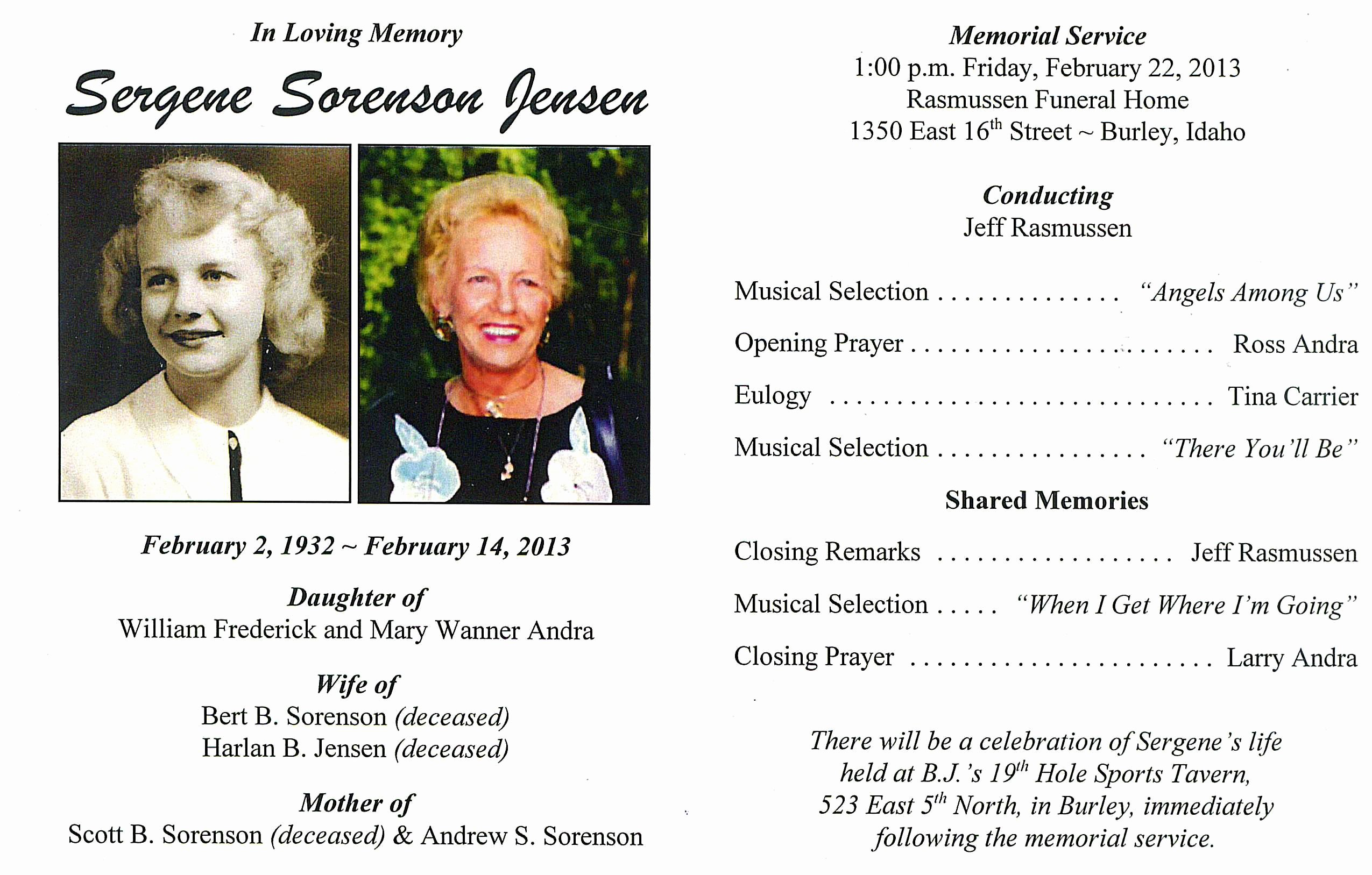 Lds Funeral Program Template Free Best Of Sergene andra sorenson Jensen – Sagacity