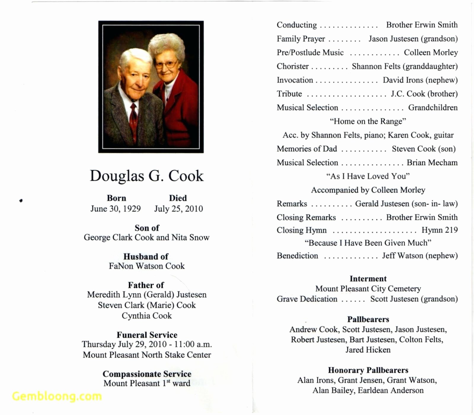 Lds Funeral Program Template Free Elegant 8 9 Funeral Obituary Programs Templates