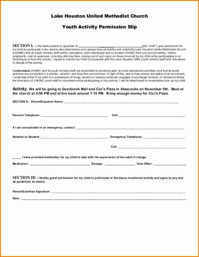 Lds Permission form Awesome 6 Church Permission Slip