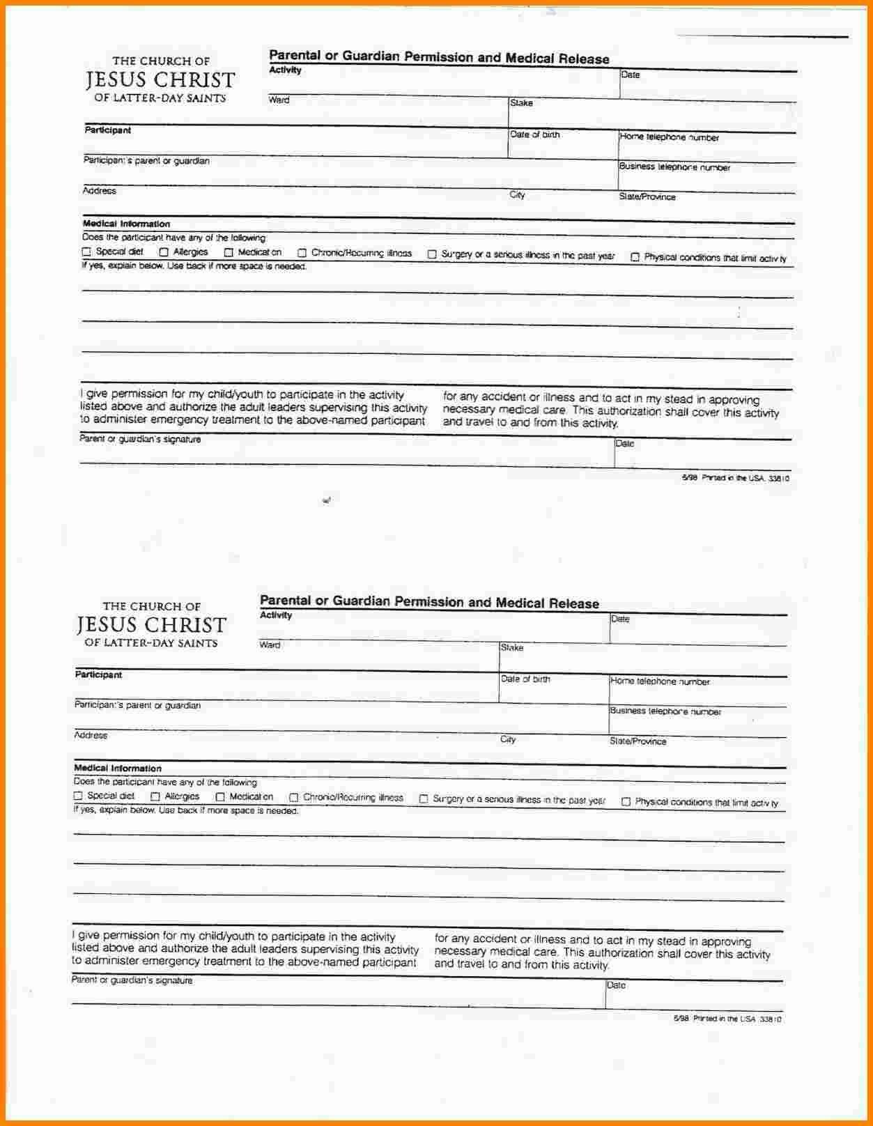 Lds Permission form Fresh 10 Lds Youth Permission Slip