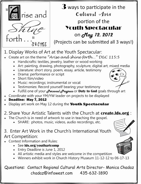 Lds Youth Permission Slips Awesome Arise & Shine forth 2012 Youth Spectacular Create Art