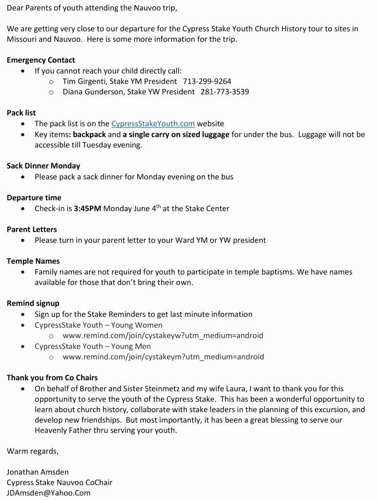 Lds Youth Permission Slips Beautiful Nauvoo 2018 – Cypress Stake Youth