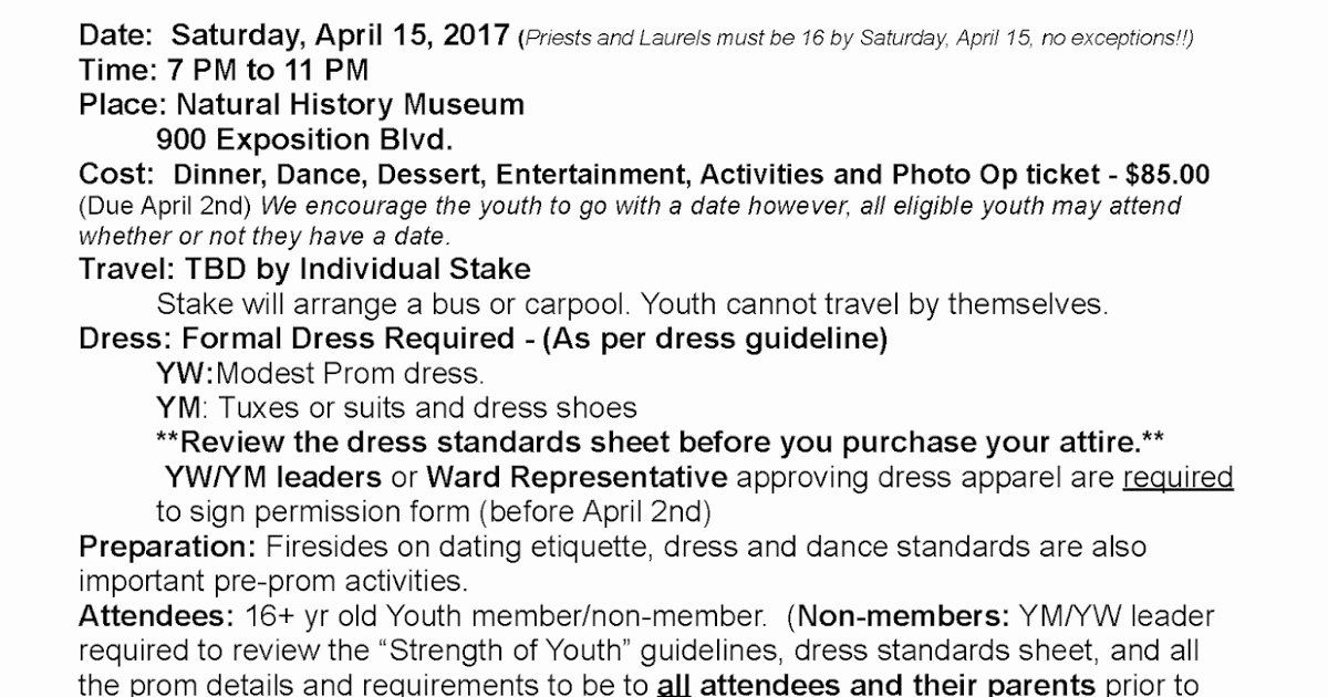 Lds Youth Permission Slips Unique Lds Prom 2017 the Natural History Museum Ward Leader Info
