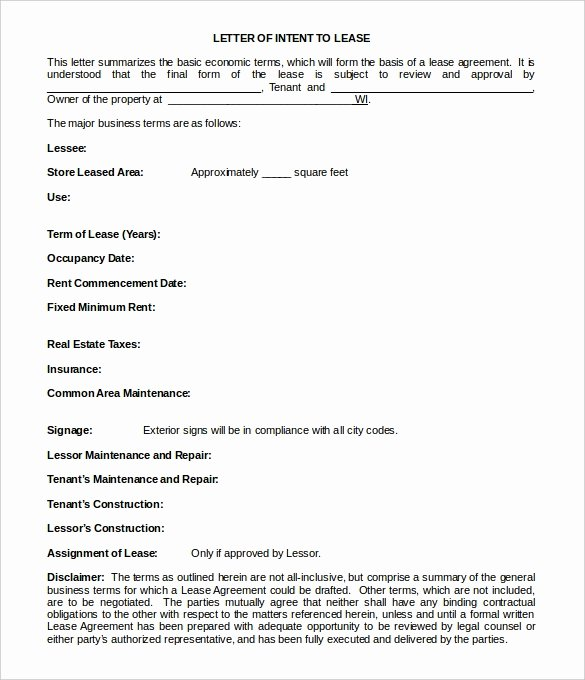 Lease Letter Of Intent Sample Awesome 27 Simple Letter Of Intent Templates Pdf Doc