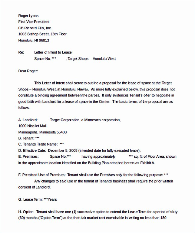 Lease Letter Of Intent Sample Luxury Make the Letter Of Interest Worth Reading