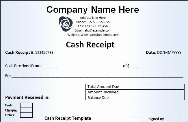 Legal Receipt for Cash Payment Elegant Cash Receipt Template