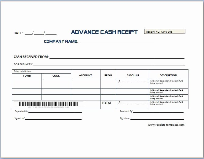 Legal Receipt for Cash Payment Elegant Non Refundable Deposit Receipt Template