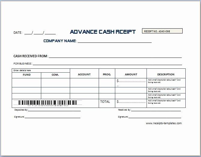 Legal Receipt for Cash Payment Elegant Non Refundable Deposit Receipt Template