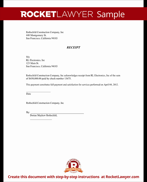 Legal Receipt Of Payment Template Fresh General Receipt Template Sample Receipt form