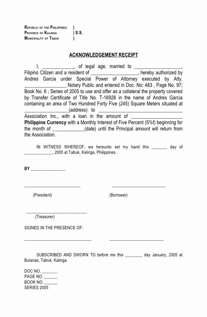 Legal Receipt Template Beautiful Acknowledgement Of Receipt