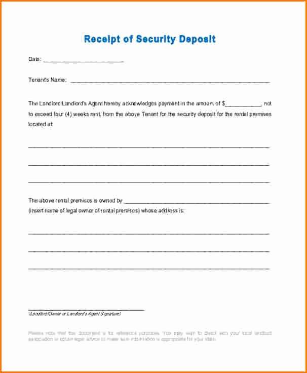 Legal Receipt Template Luxury 7 Security Deposit Receipt Pdf