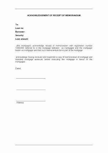 Legal Receipt Template New Acknowledgement Of Receipt Of Memorandum Sa