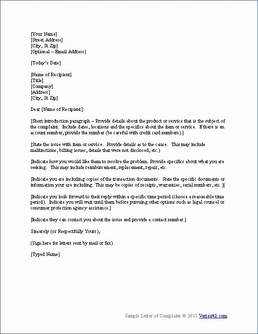 Legal Response Letter Template Awesome Download the Plaint Letter Template From Vertex42