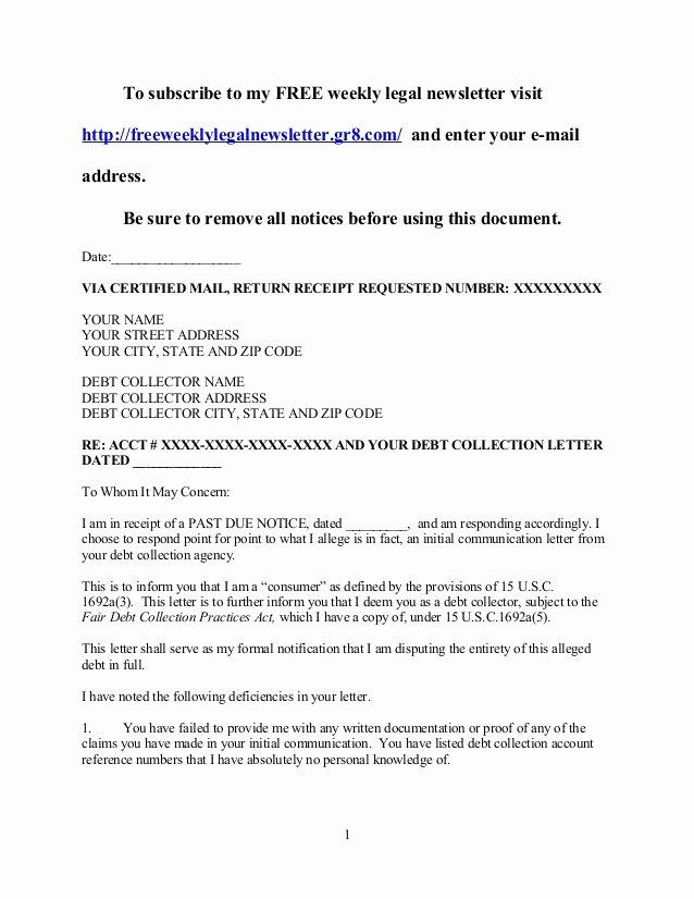 Legal Response Letter Template Best Of New Debt Validation Letter Sample Download