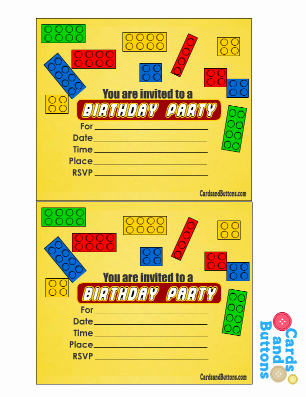Lego Birthday Card Printable Beautiful Free Printable Lego Birthday Invitations