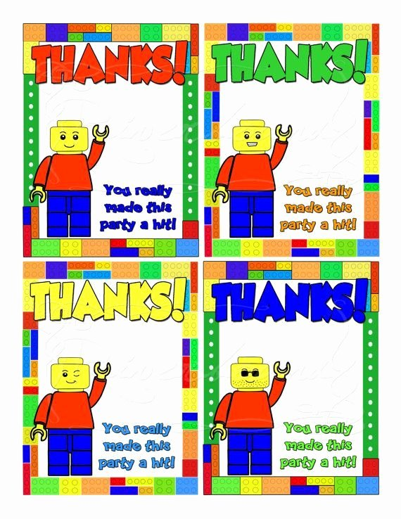 Lego Birthday Card Printable Best Of Printable Lego Thank You Cards Lego Party In 2019