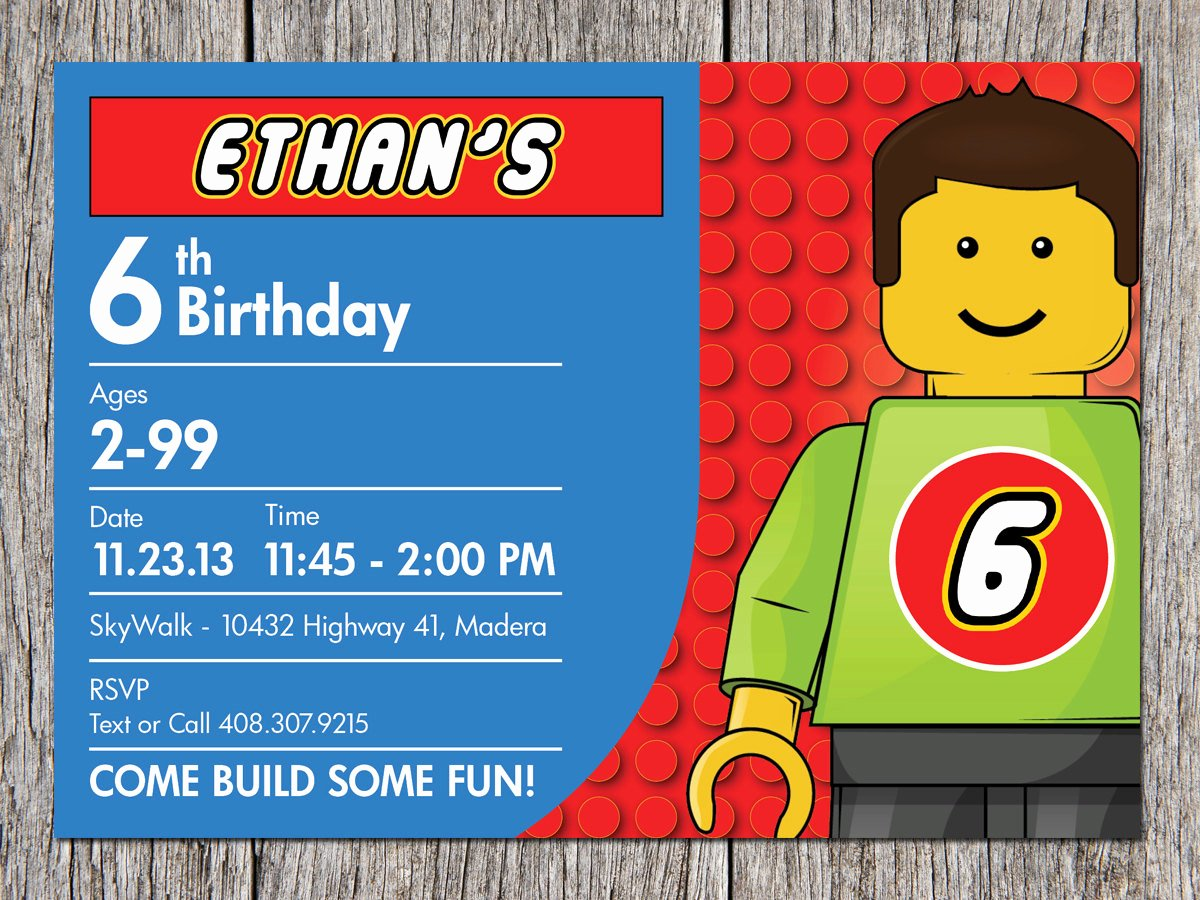 Lego Birthday Card Printable Elegant Free Printable Lego Birthday Invitations