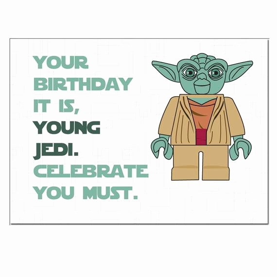 Lego Birthday Card Printable Fresh Items Similar to Lego Star Wars Yoda Birthday Card On Etsy