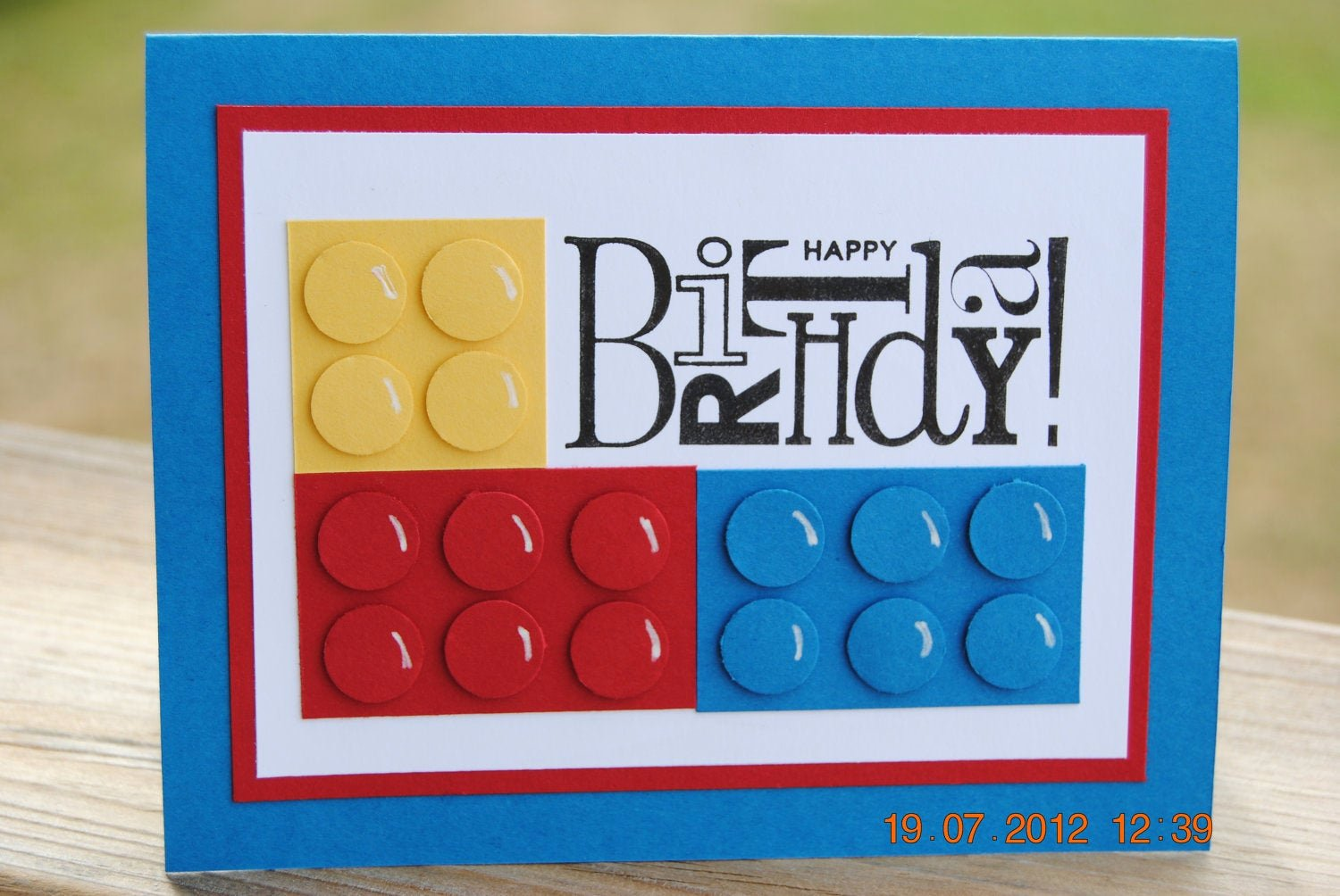 Lego Birthday Card Printable New Handcrafted Kids Building Block Style Building Block Birthday