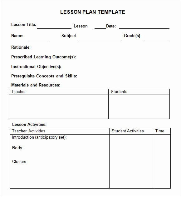 Lesson Plan Template for College Instructors Beautiful 8 Weekly Lesson Plan Samples