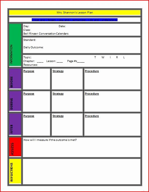 Lesson Plan Template for College Instructors Elegant Lesson Plan Template