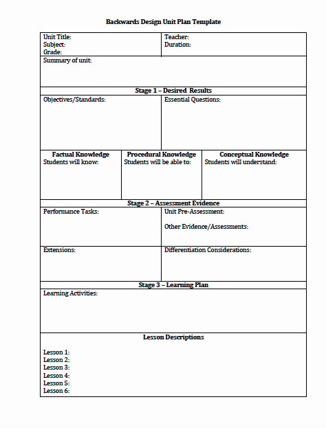 Lesson Plan Template for College Instructors Fresh the Idea Backpack Unit Plan and Lesson Plan Templates for