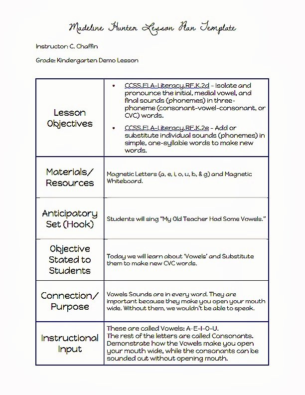 Lesson Plan Template for College Instructors Luxury Mon Core Blogger Madeline Hunter Lesson Plan Template
