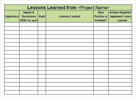 Lessons Learned Document Template Fresh 6 Lesson Learned Samples Pdf Word Excel