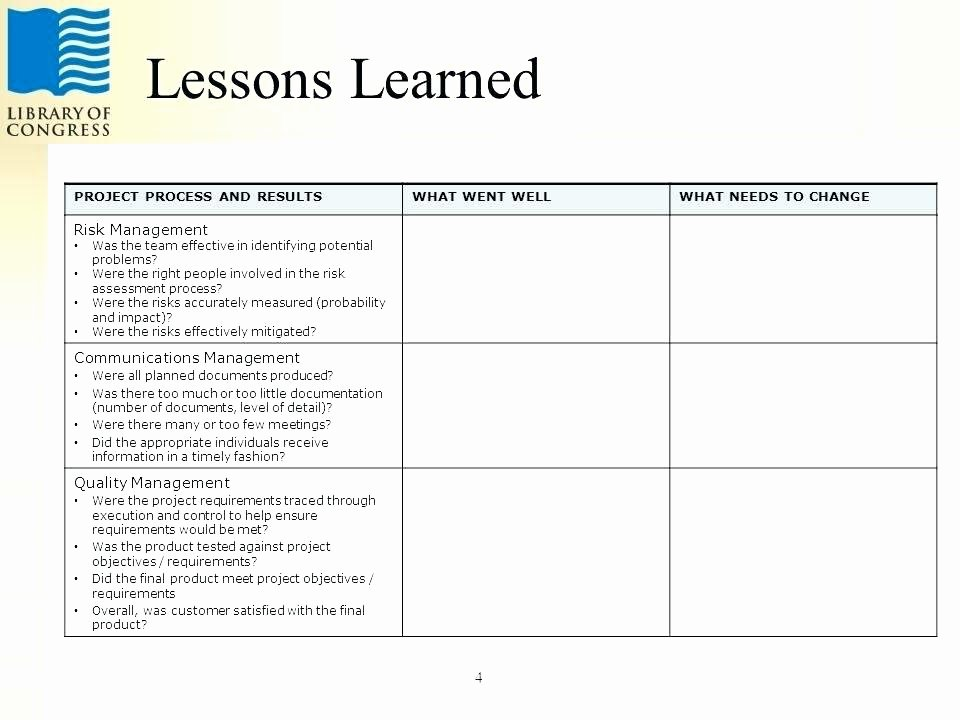 Lessons Learned Document Template Inspirational Lessons Learned Template In Microsoft Excel
