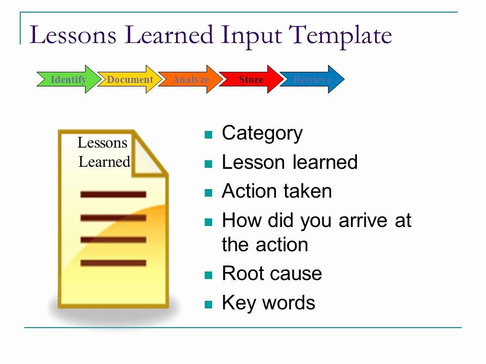 Lessons Learned Document Template Lovely Capturing and Applying Lessons Learned Ppt