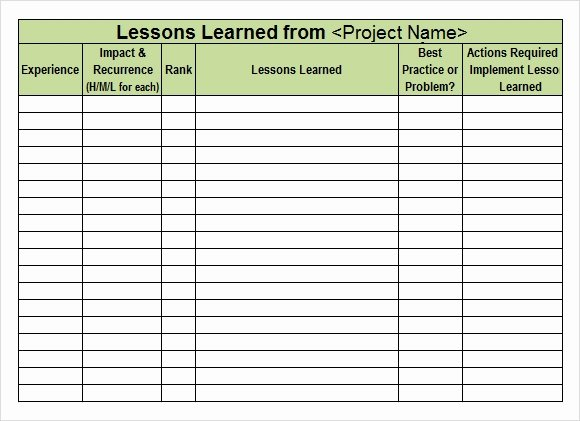 Lessons Learned Document Template New Lessons Learned Template