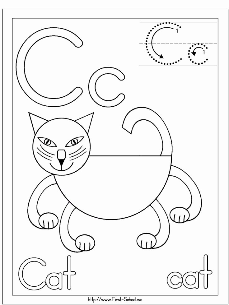 Letter A Template for Preschool Fresh C Cat Coloring Page for C Week