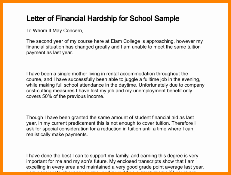 Letter asking for Financial Support Awesome 10 Letter asking for Financial assistance for College