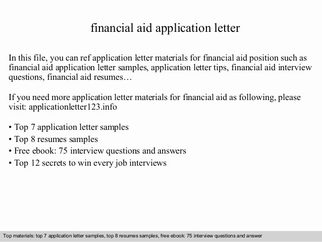 Letter asking for Financial Support Elegant Financial Aid Application Letter