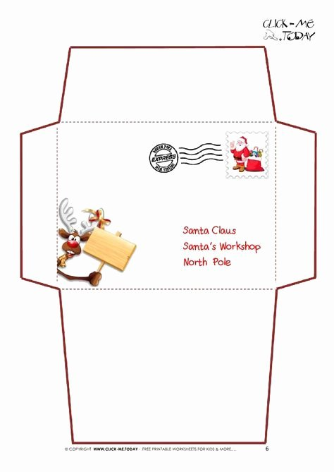 Letter Envelope Address Template Elegant Printable Letter to Santa Claus Envelope Template