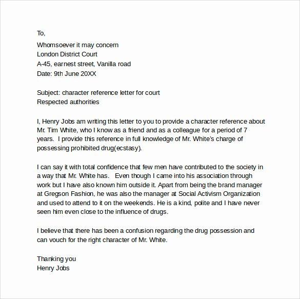 Letter format for Court Beautiful Character Letter for Court Templates 8 Download Free