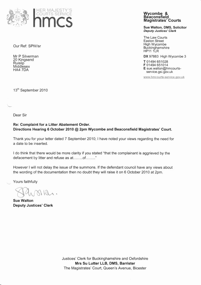 Letter format for Court New Letter From Wy Be Magistrates Court