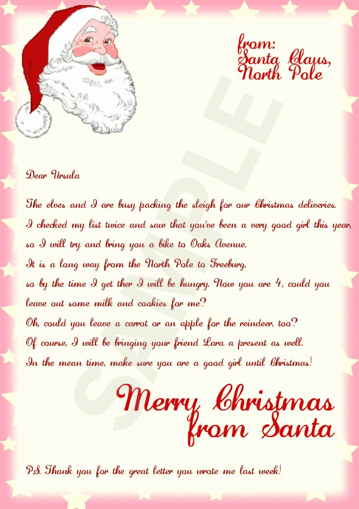 Letter From Santa Template Word Awesome Letter From Santa Template