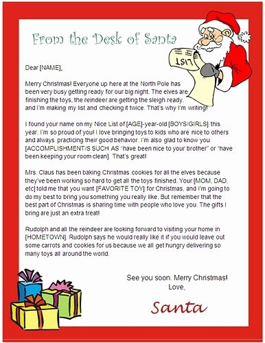Letter From Santa Template Word Awesome Letter From Santa Template Word