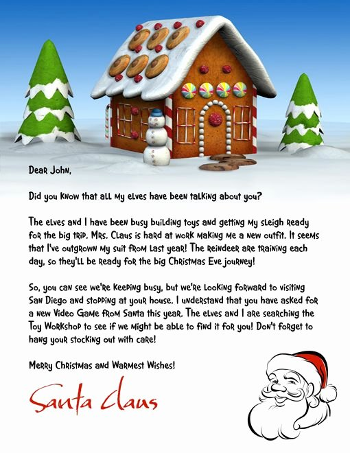 Letter From Santa Template Word Best Of Letter From Santa Template Word