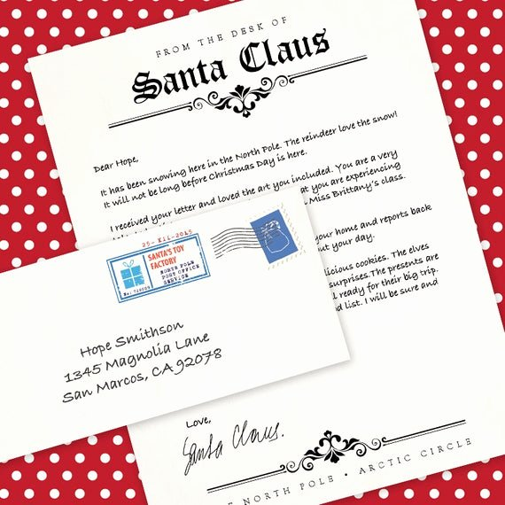 Letter From Santa Template Word Elegant Letter From Santa Claus Ms Word Template by Alittlehopedesigns