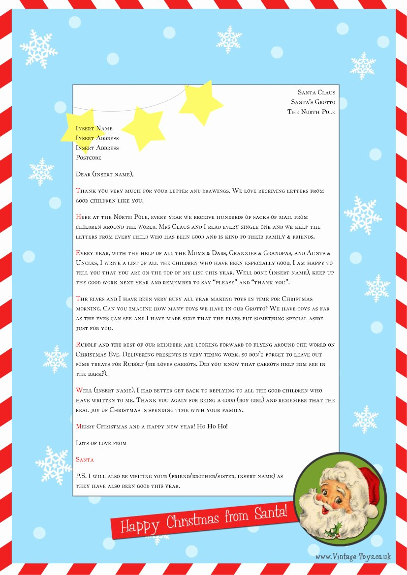 "Letter From Santa Template Word Fresh Free ""letter From Santa"" Template for You to and"