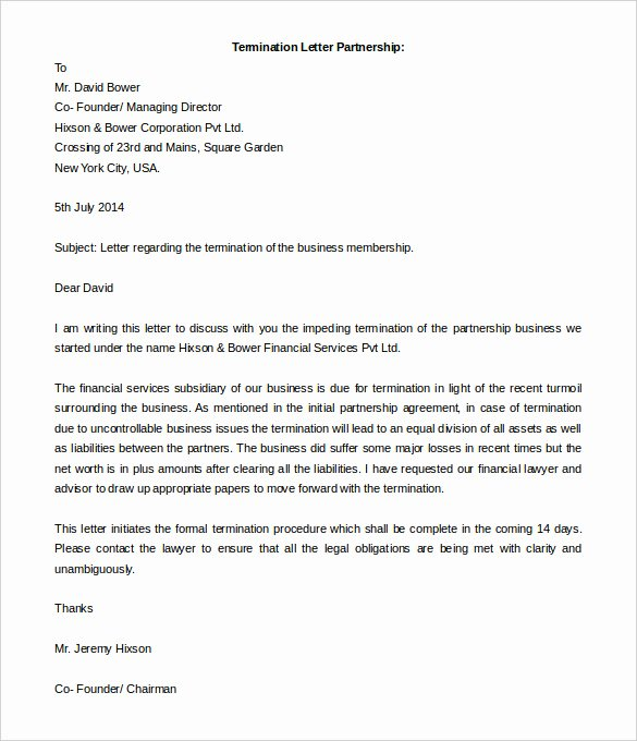 Letter Of Collaboration Lovely 5 Partnership Termination Letter Free Word Pdf
