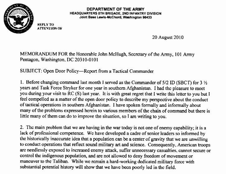 Letter Of Concern Army Example Best Of Hall Of Record Coin Afghanistan Counterinsurgency Strategy
