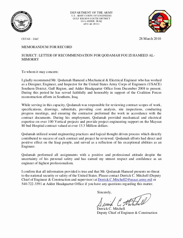 Letter Of Concern Army Example Elegant Letter Of Re Mendation for Qodamah Hameed