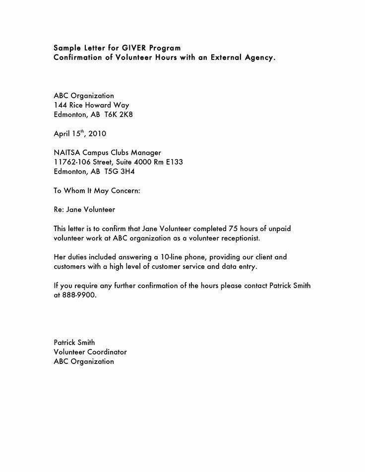 Letter Of Concern Army Example Inspirational Volunteer Hours Letter Templatevolunteer Letter Template