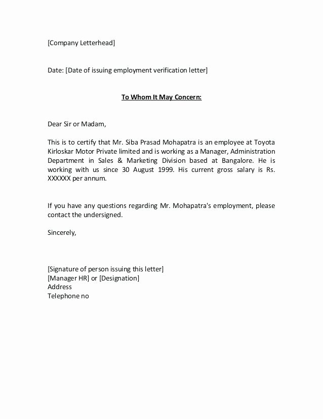 Letter Of Concern for Employee Beautiful 15 Certify Letter Of Employment
